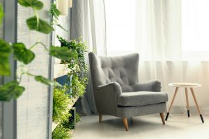 A grey armchair in a theraputic room with lots of plants.