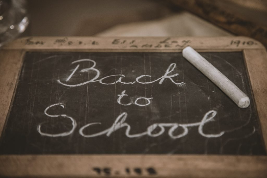 A chalkboard with back to school written on it
