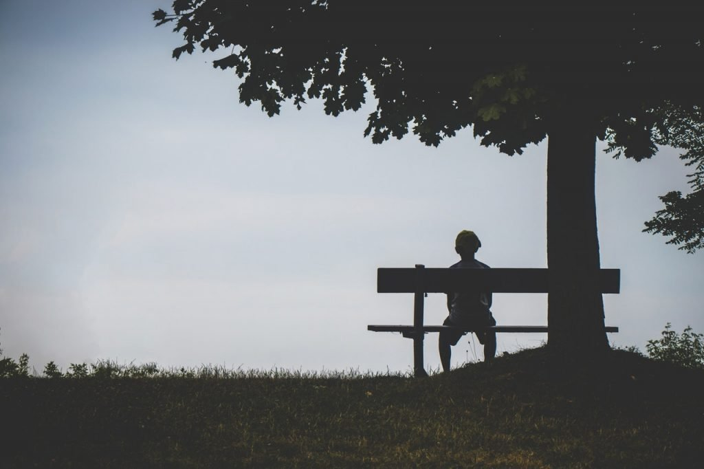 Boy sitting on a bench looking out over a landscape